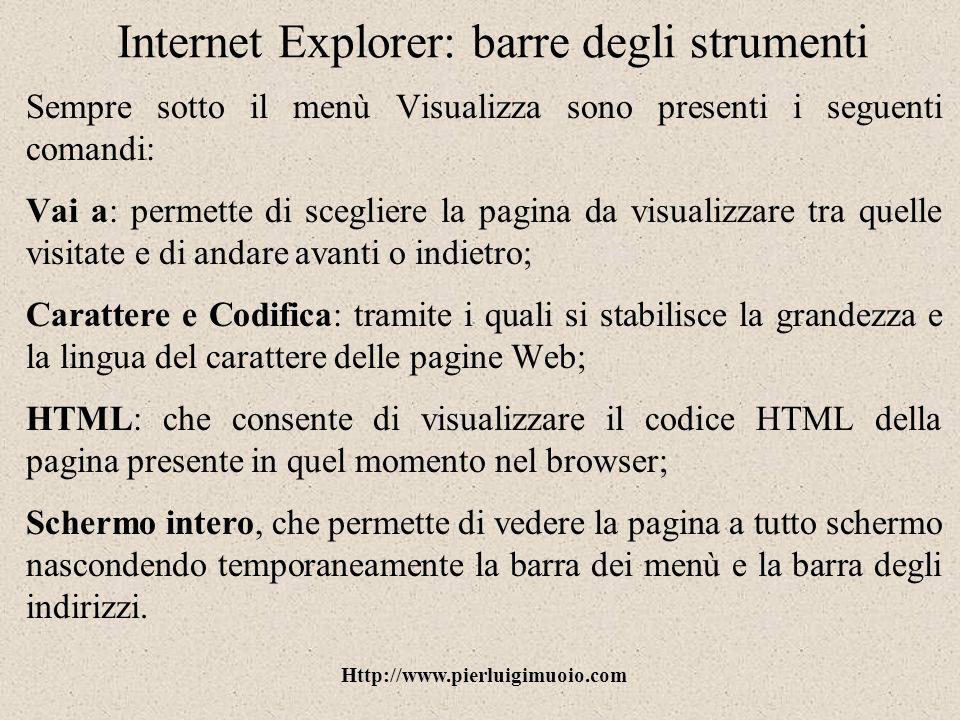 Internet Explorer: barre degli strumenti