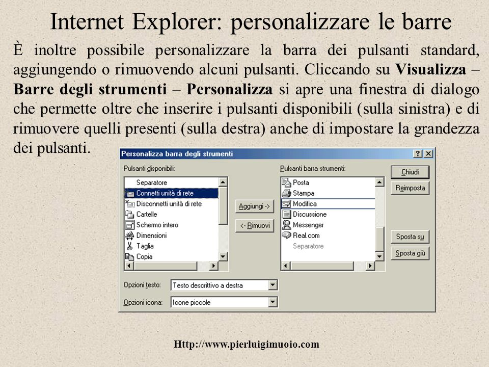 Internet Explorer: personalizzare le barre