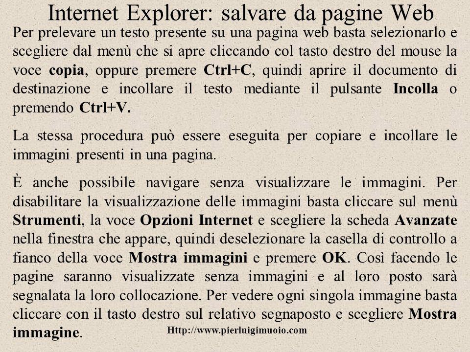 Internet Explorer: salvare da pagine Web