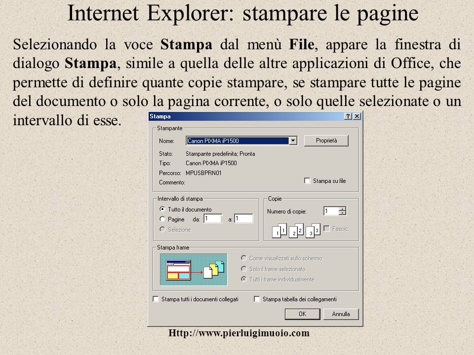 Internet Explorer: stampare le pagine
