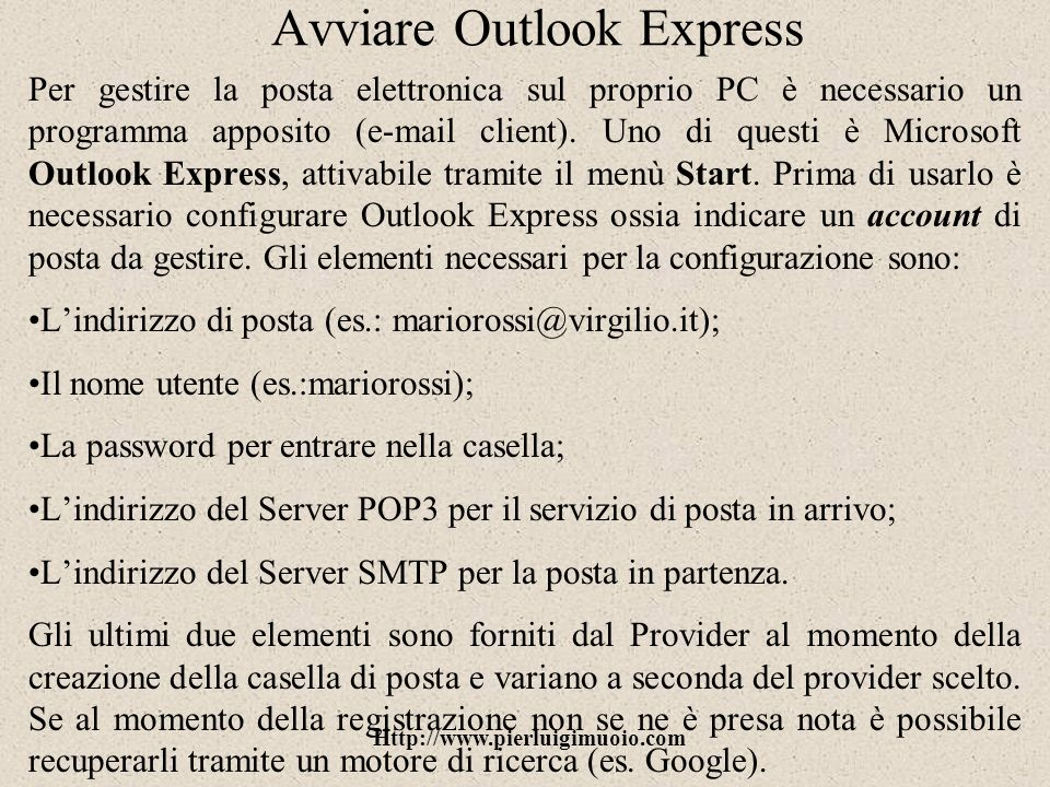 Avviare Outlook Express
