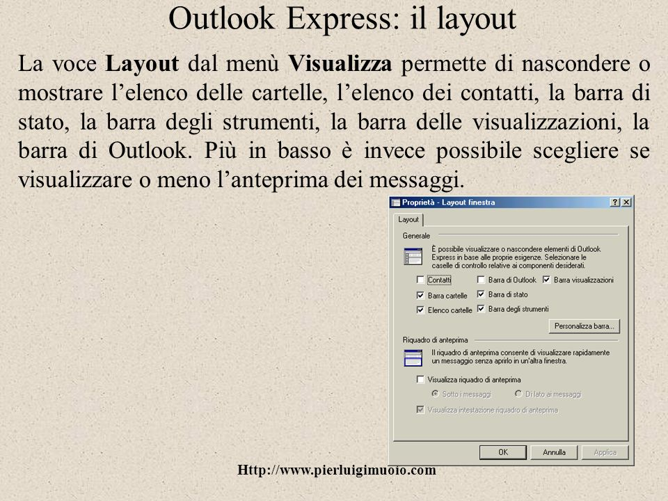 Outlook Express: il layout