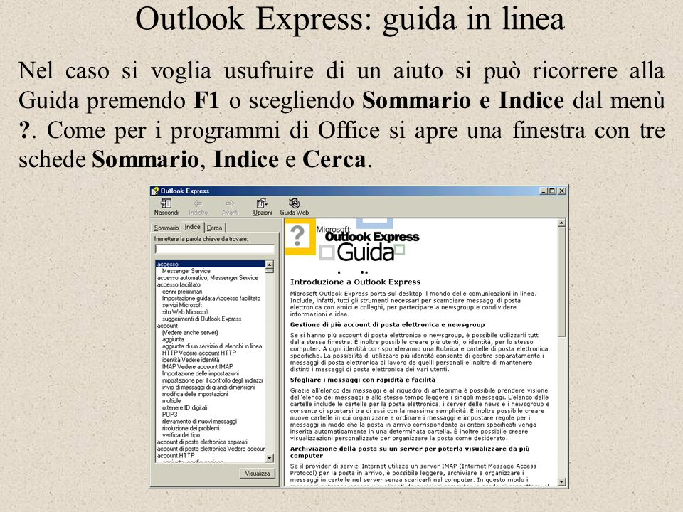 Outlook Express: guida in linea