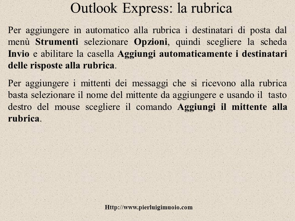 Outlook Express: la rubrica