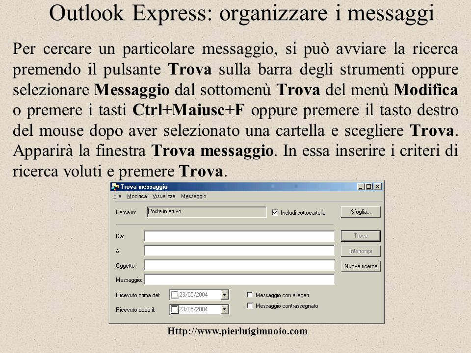 Outlook Express: organizzare i messaggi