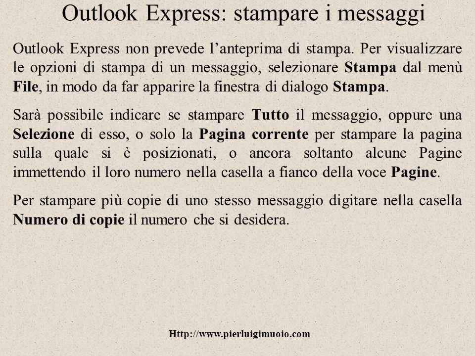 Outlook Express: stampare i messaggi