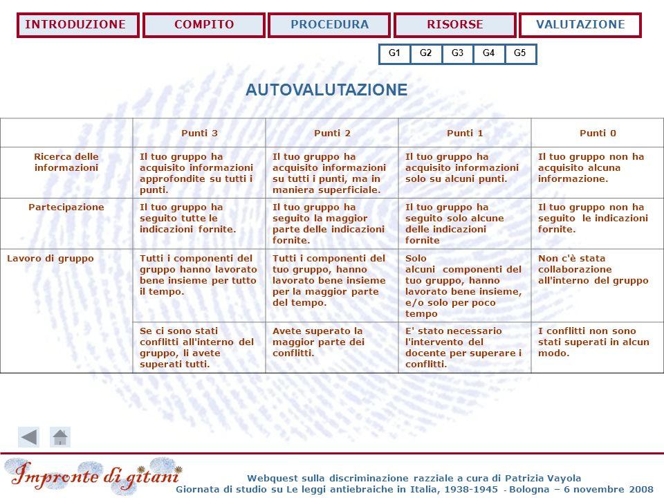 AUTOVALUTAZIONE INTRODUZIONE COMPITO PROCEDURA RISORSE VALUTAZIONE G1