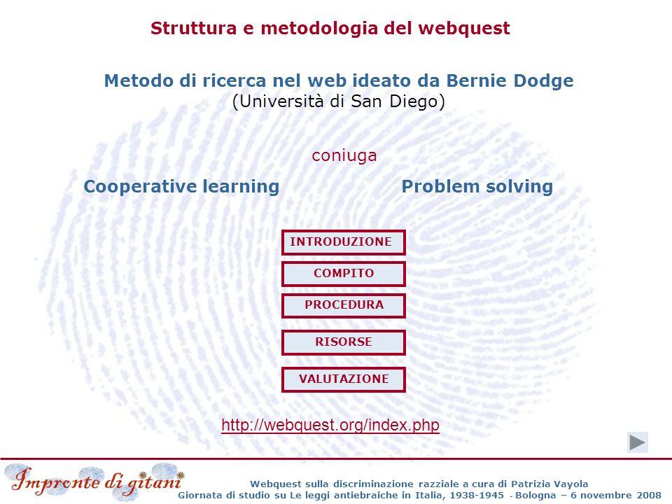 Struttura e metodologia del webquest