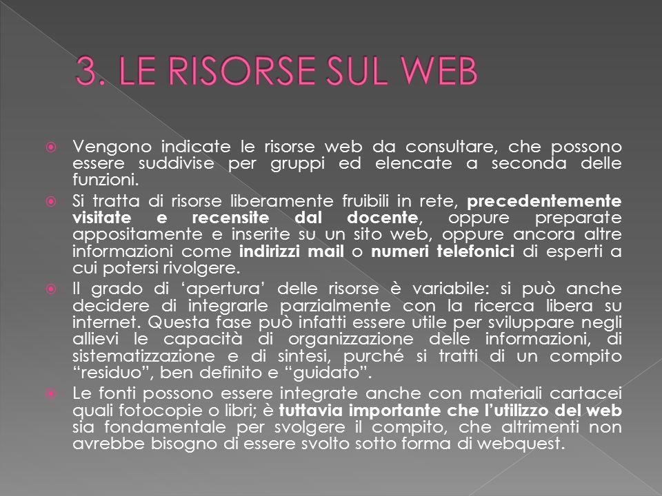 3. LE RISORSE SUL WEB Vengono indicate le risorse web da consultare, che possono essere suddivise per gruppi ed elencate a seconda delle funzioni.