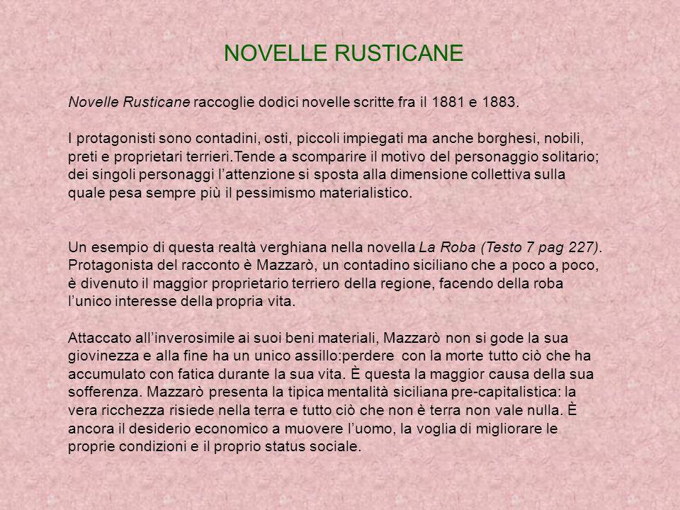 NOVELLE RUSTICANE Novelle Rusticane raccoglie dodici novelle scritte fra il 1881 e 1883.