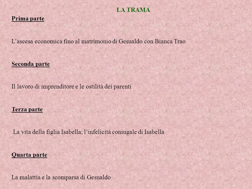 LA TRAMA Prima parte. L'ascesa economica fino al matrimonio di Gesualdo con Bianca Trao. Seconda parte.