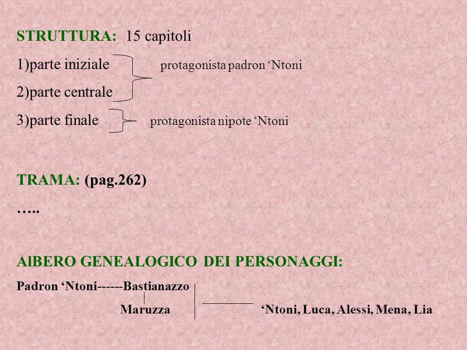 1)parte iniziale protagonista padron 'Ntoni 2)parte centrale