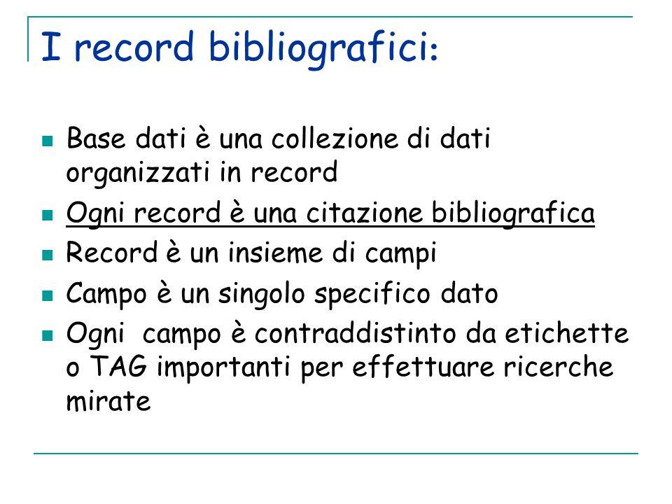 I record bibliografici: