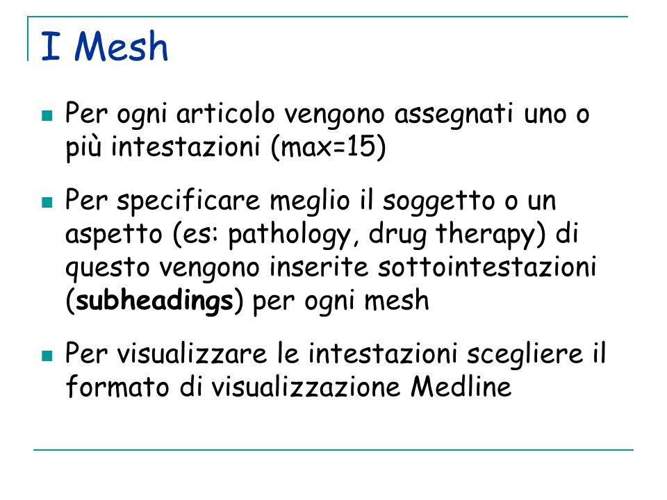 I MeshPer ogni articolo vengono assegnati uno o più intestazioni (max=15)