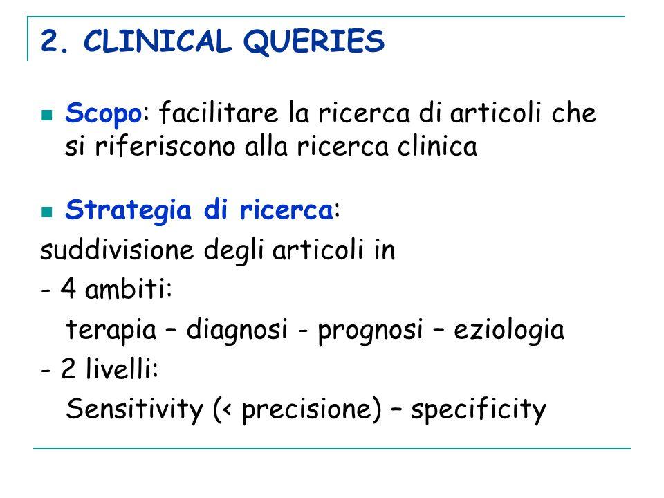 2. CLINICAL QUERIESScopo: facilitare la ricerca di articoli che si riferiscono alla ricerca clinica.