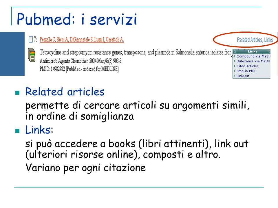 Pubmed: i servizi Related articles Links: