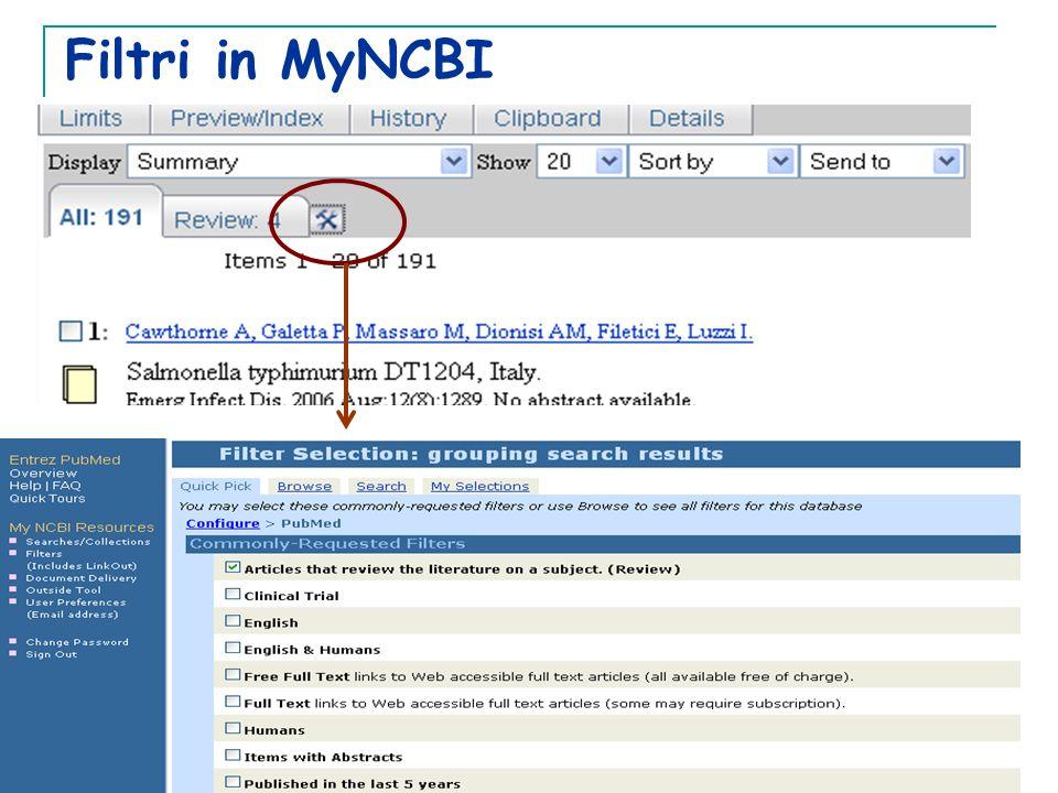 Filtri in MyNCBI