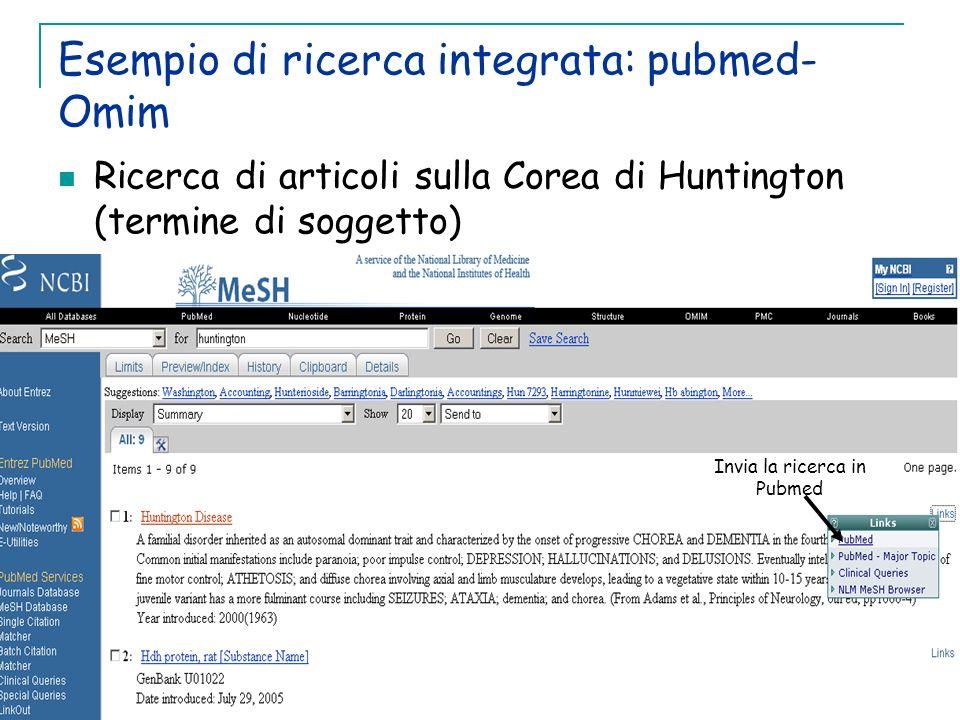 Esempio di ricerca integrata: pubmed-Omim