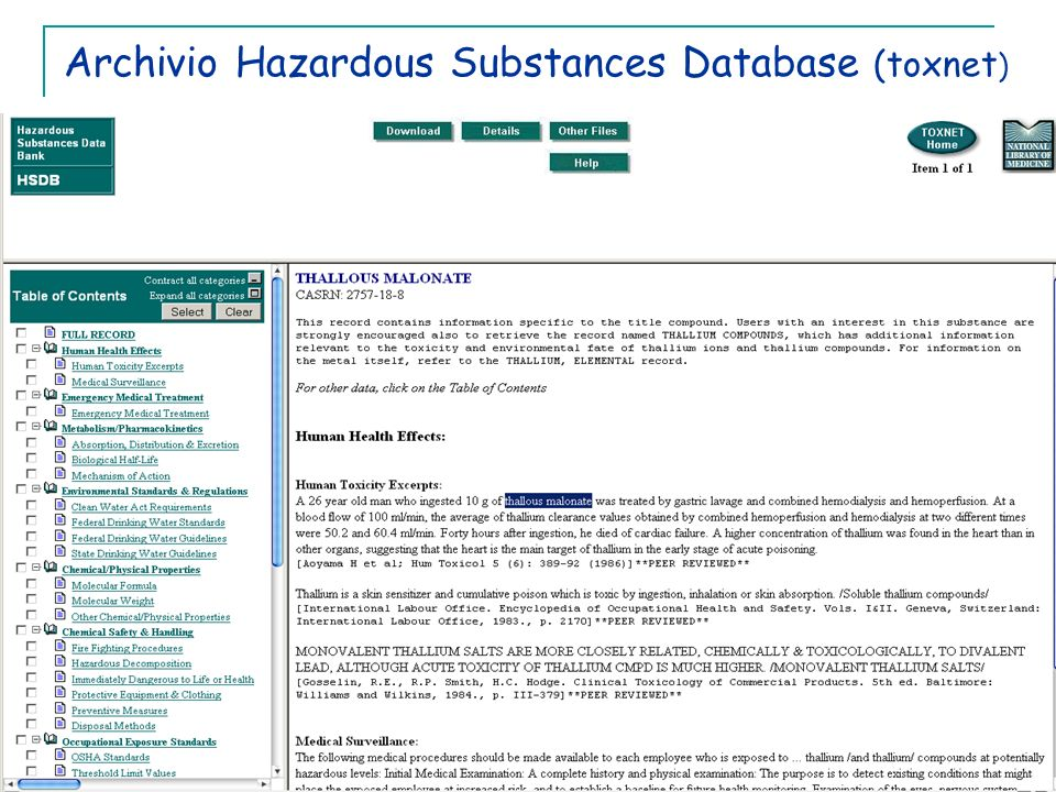 Archivio Hazardous Substances Database (toxnet)