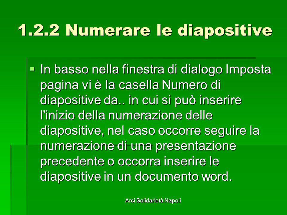 1.2.2 Numerare le diapositive