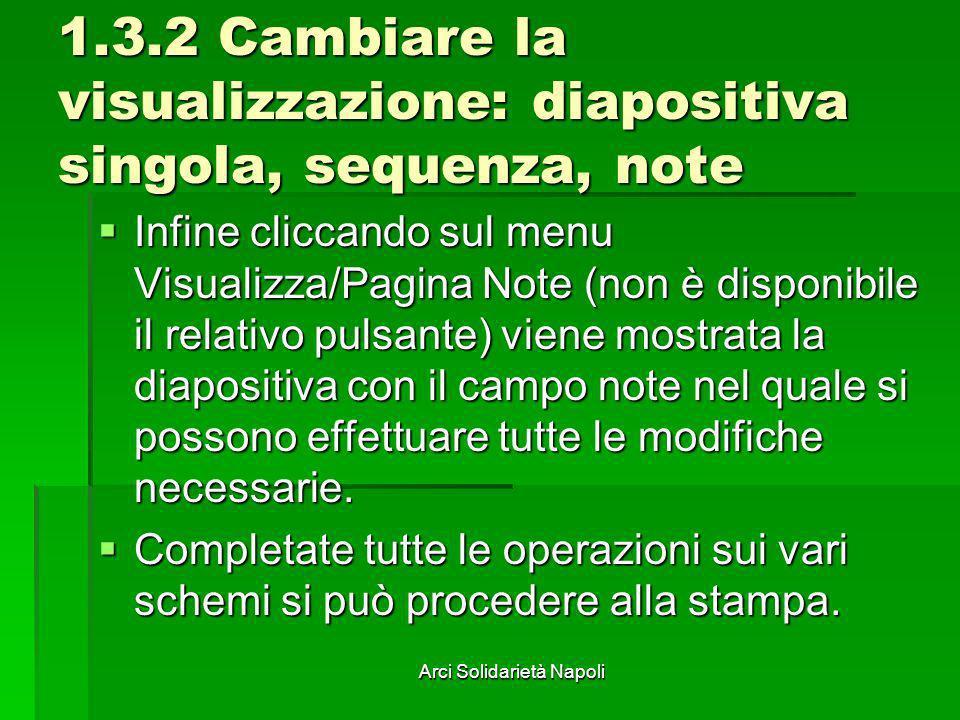 1.3.2 Cambiare la visualizzazione: diapositiva singola, sequenza, note
