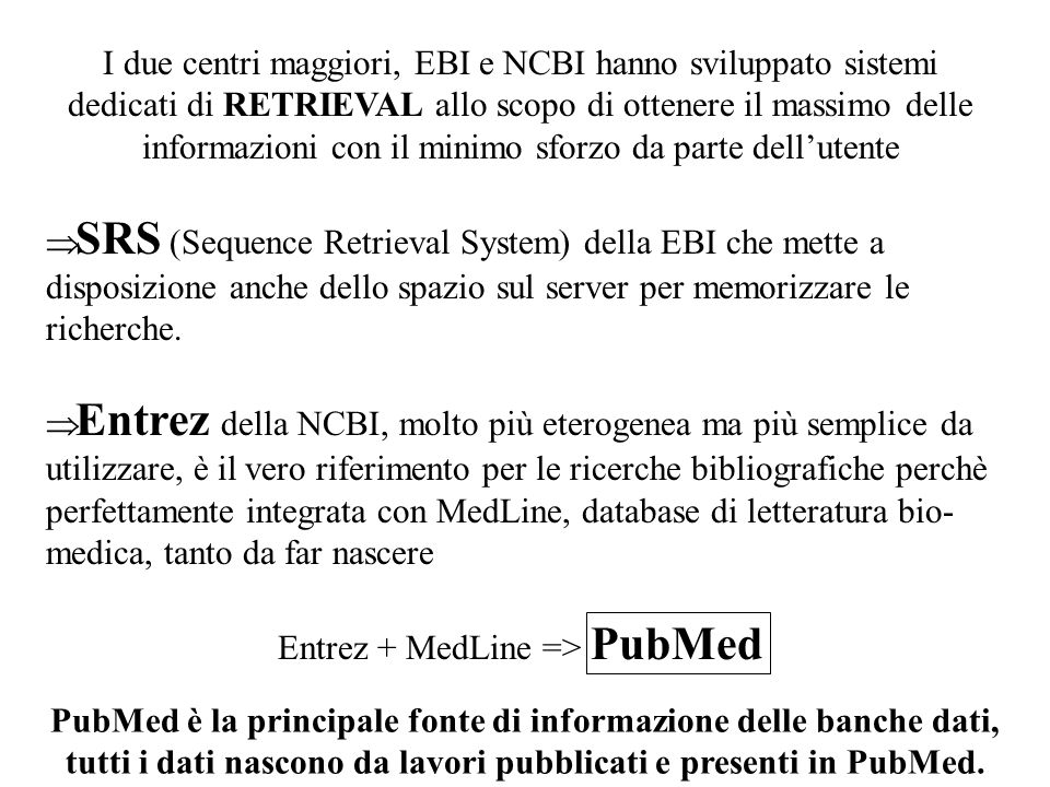 Entrez + MedLine => PubMed