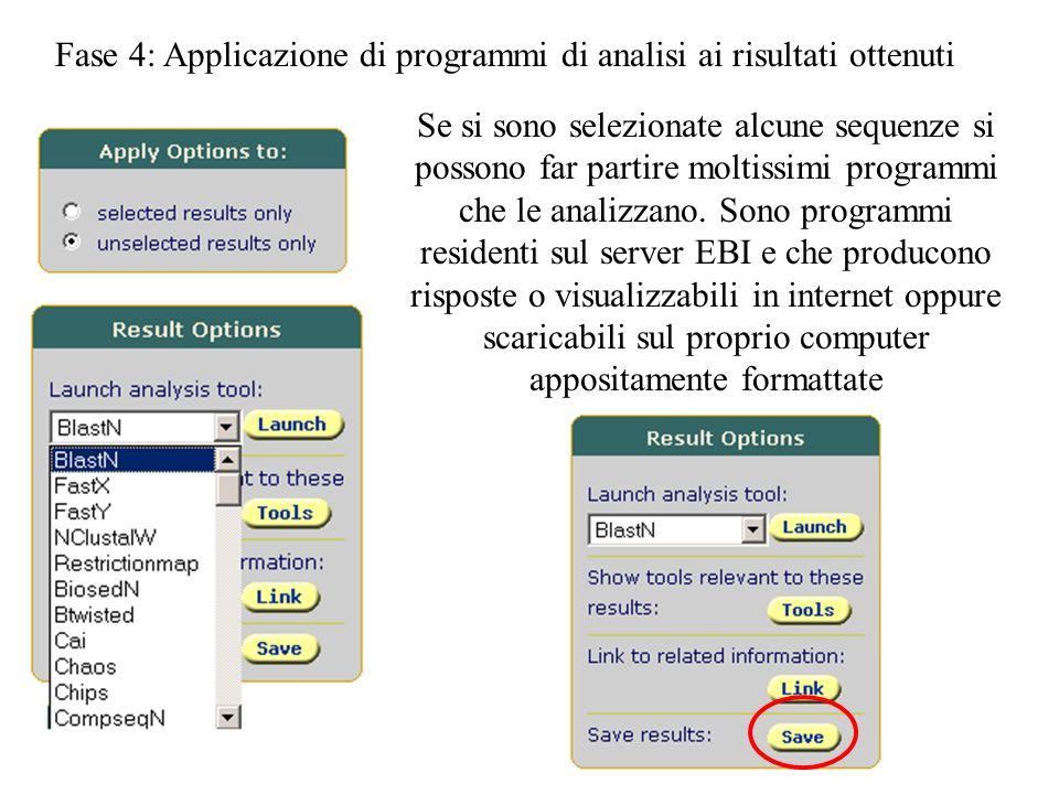 Fase 4: Applicazione di programmi di analisi ai risultati ottenuti