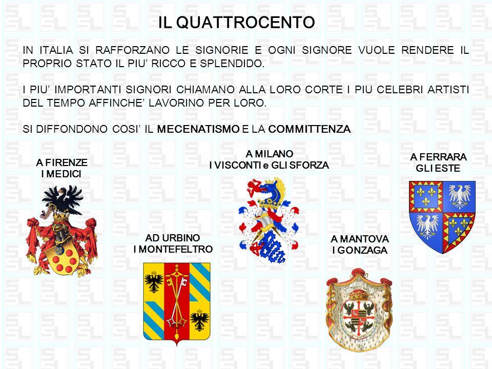 IL QUATTROCENTO IN ITALIA SI RAFFORZANO LE SIGNORIE E OGNI SIGNORE VUOLE RENDERE IL PROPRIO STATO IL PIU' RICCO E SPLENDIDO.