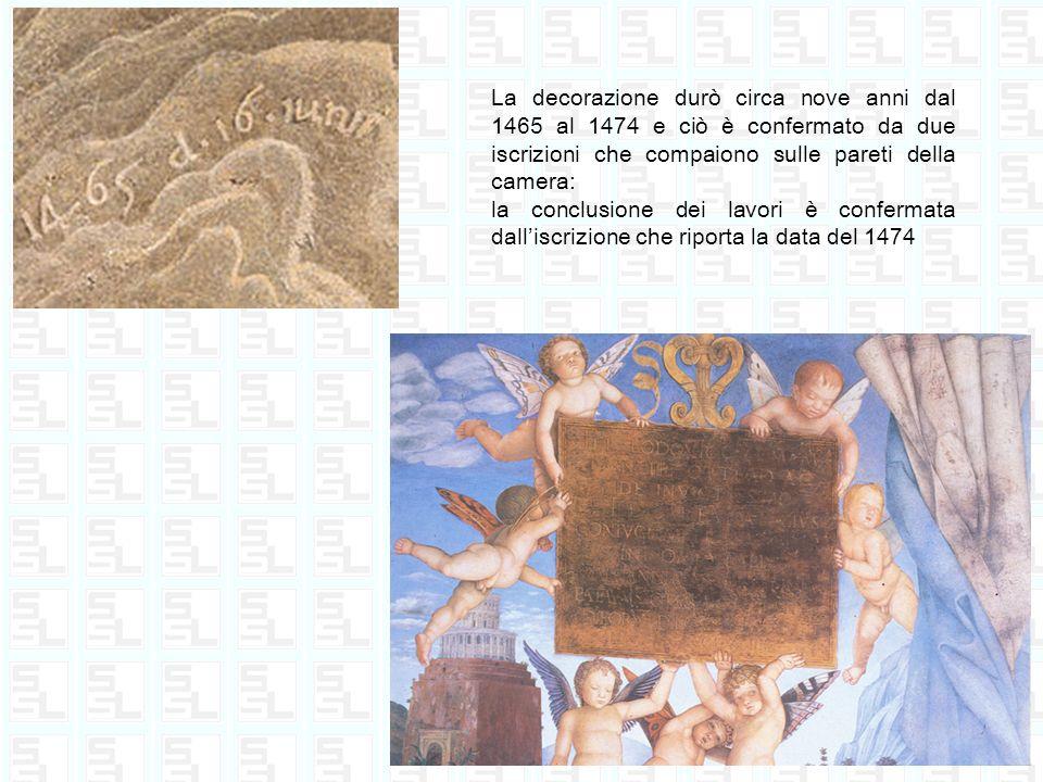 La decorazione durò circa nove anni dal 1465 al 1474 e ciò è confermato da due iscrizioni che compaiono sulle pareti della camera: