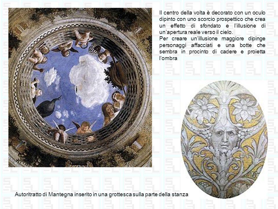 Il centro della volta è decorato con un oculo dipinto con uno scorcio prospettico che crea un effetto di sfondato e l'illusione di un'apertura reale verso il cielo.