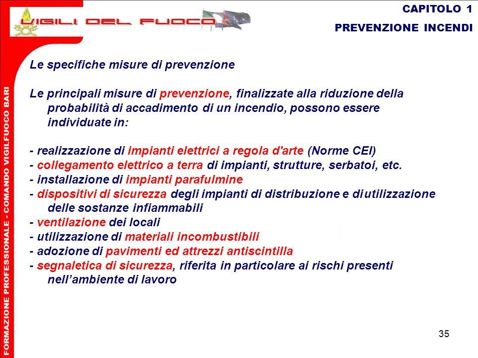 Le specifiche misure di prevenzione