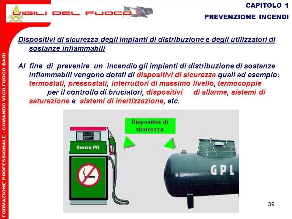 CAPITOLO 1 PREVENZIONE INCENDI. Dispositivi di sicurezza degli impianti di distribuzione e degli utilizzatori di sostanze infiammabili.
