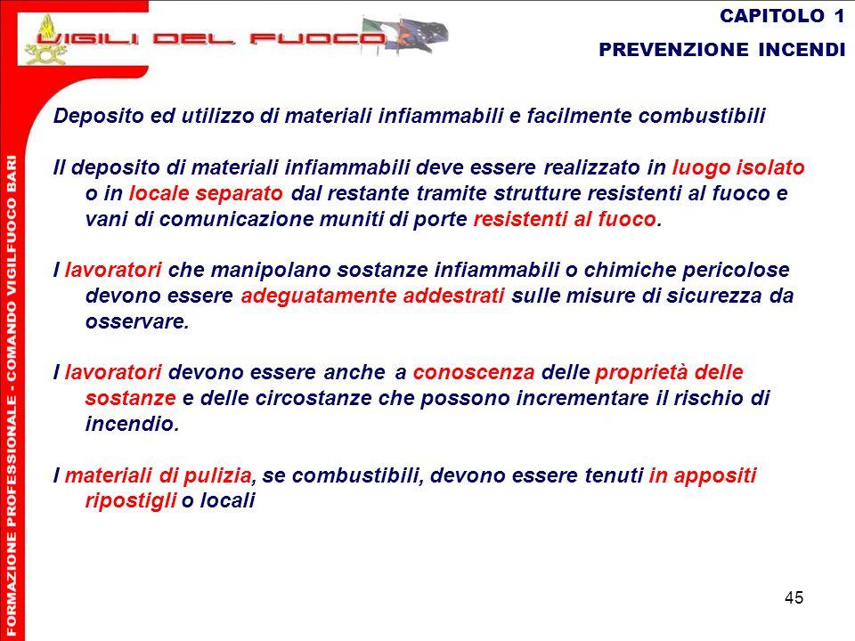CAPITOLO 1 PREVENZIONE INCENDI. Deposito ed utilizzo di materiali infiammabili e facilmente combustibili.