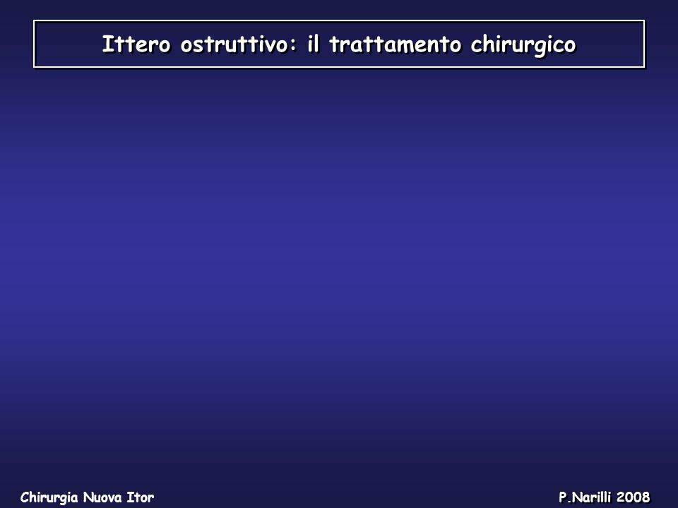 Ittero ostruttivo: il trattamento chirurgico