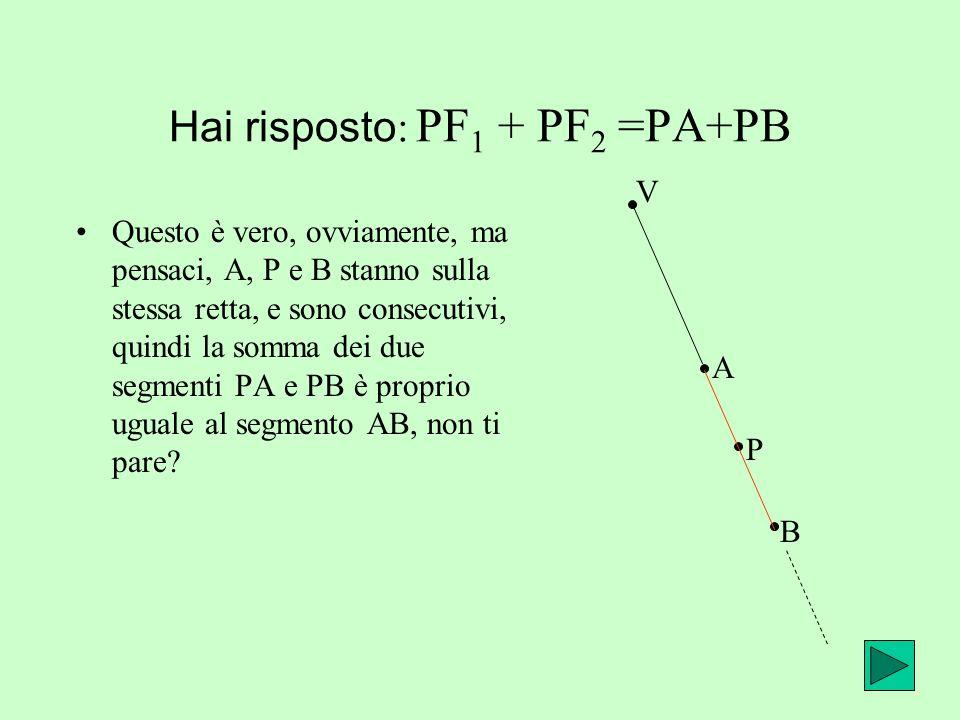 Hai risposto: PF1 + PF2 =PA+PB