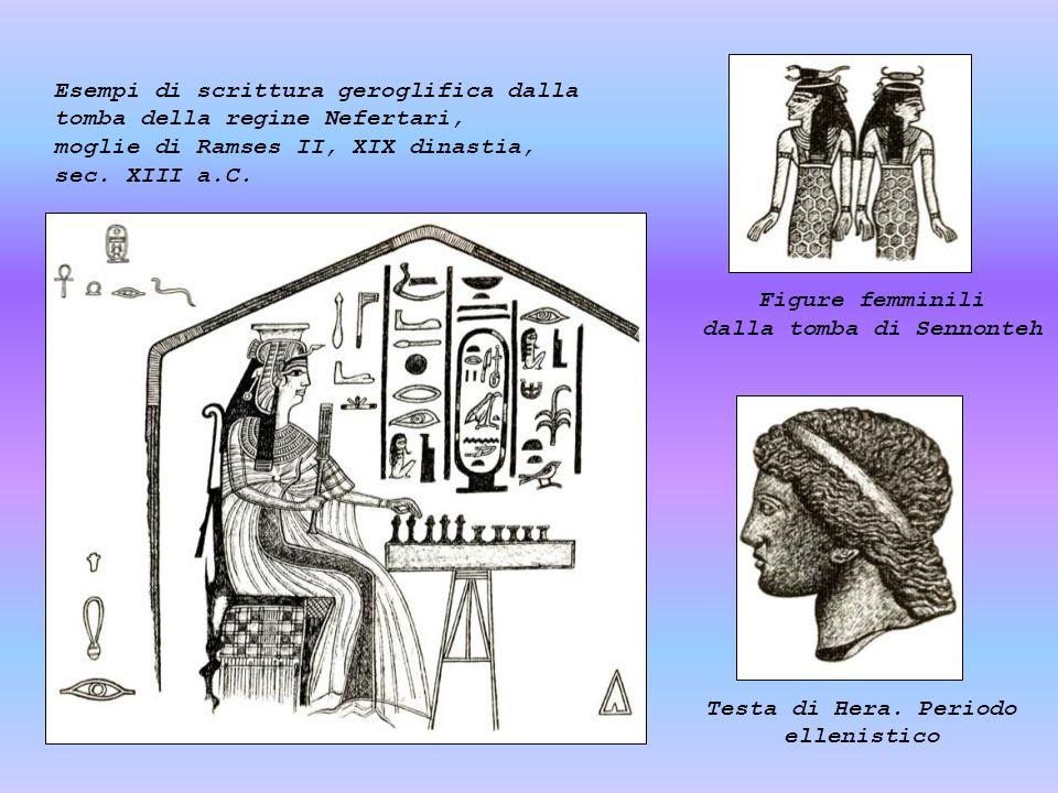 Esempi di scrittura geroglifica dalla tomba della regine Nefertari,