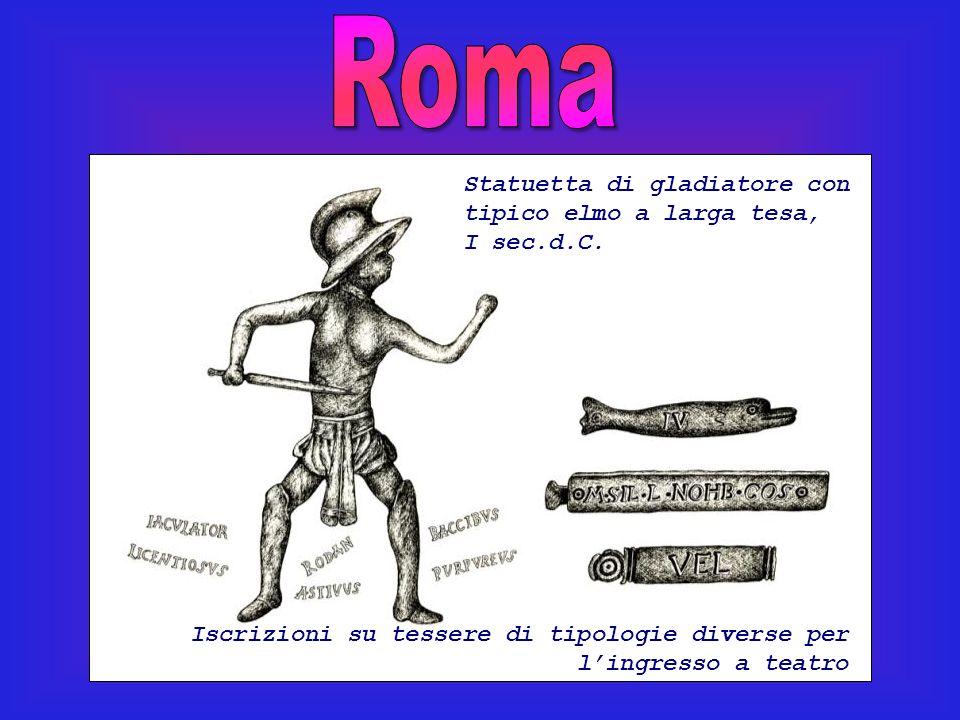 Roma Statuetta di gladiatore con tipico elmo a larga tesa, I sec.d.C.