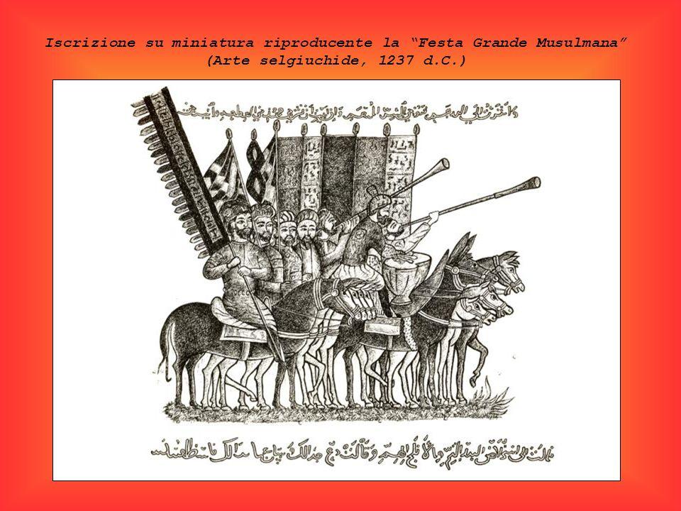 Iscrizione su miniatura riproducente la Festa Grande Musulmana (Arte selgiuchide, 1237 d.C.)