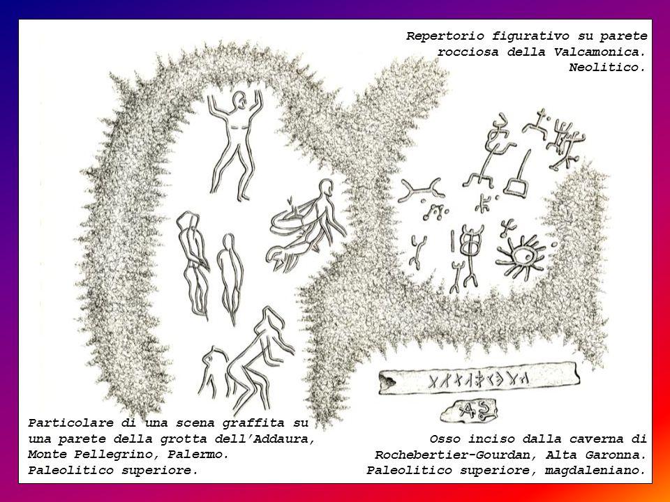 Repertorio figurativo su parete rocciosa della Valcamonica. Neolitico.