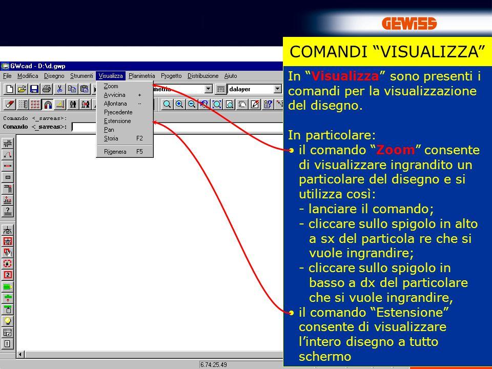 COMANDI VISUALIZZA In Visualizza sono presenti i comandi per la visualizzazione del disegno. In particolare:
