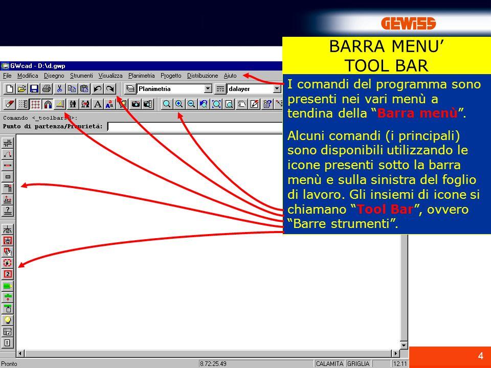 BARRA MENU' TOOL BAR. I comandi del programma sono presenti nei vari menù a tendina della Barra menù .