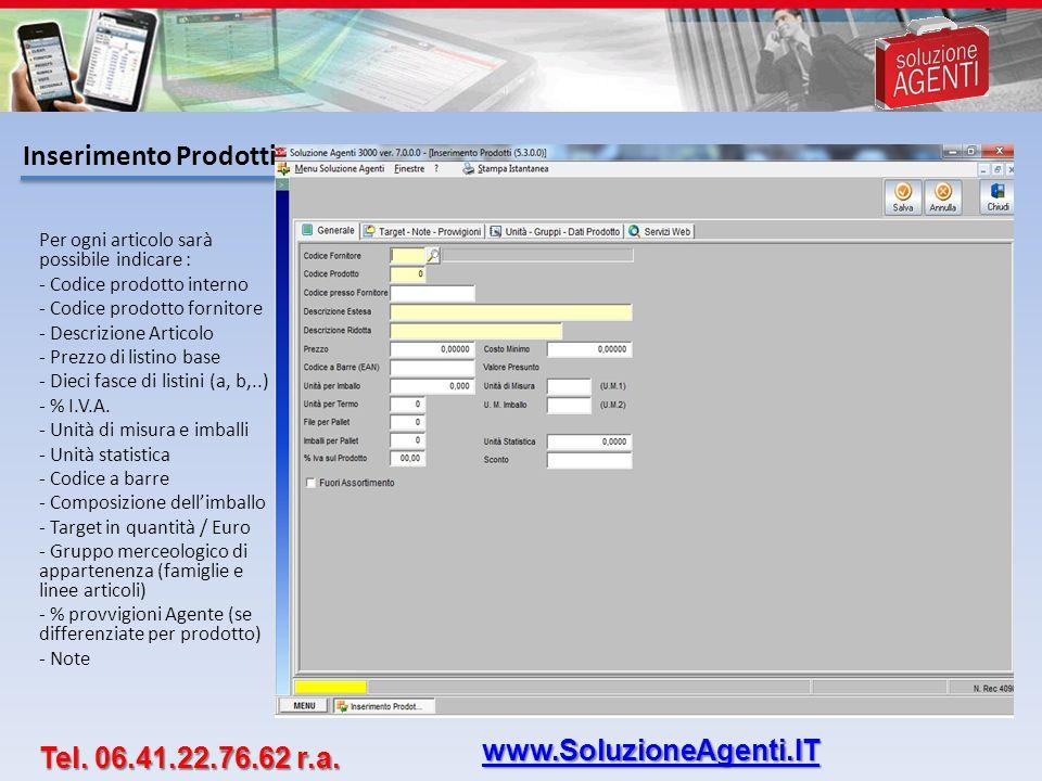 Inserimento Prodotti www.SoluzioneAgenti.IT Tel. 06.41.22.76.62 r.a.