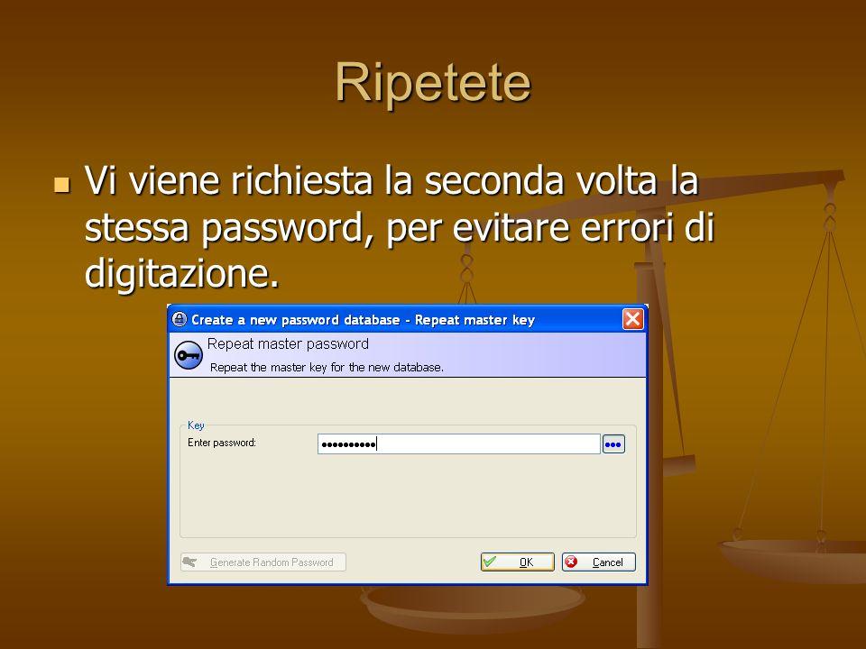 Ripetete Vi viene richiesta la seconda volta la stessa password, per evitare errori di digitazione.