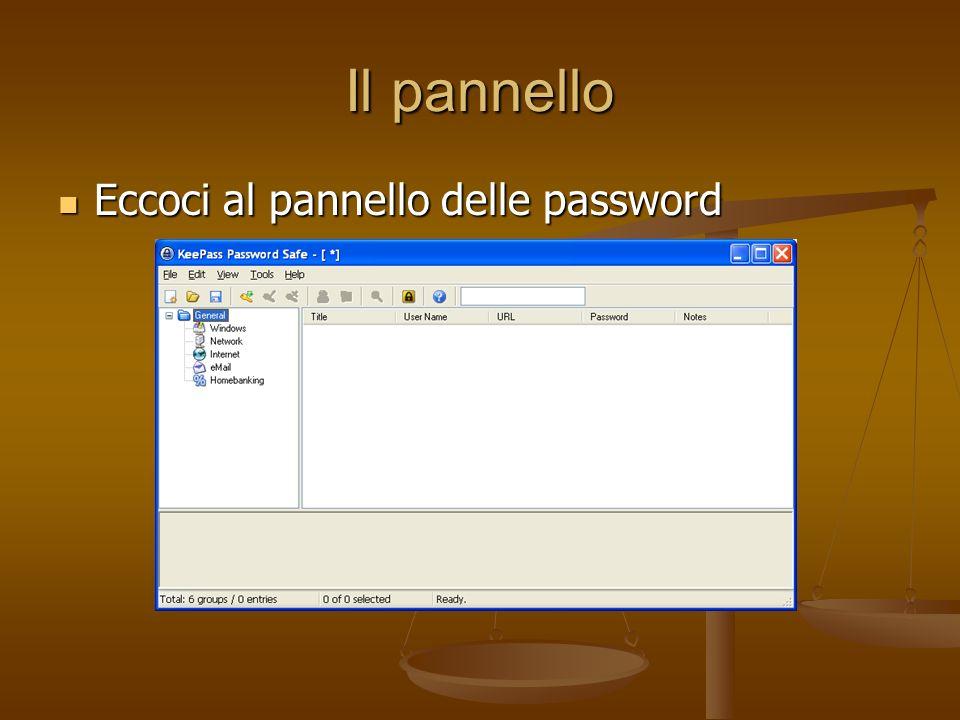 Il pannello Eccoci al pannello delle password
