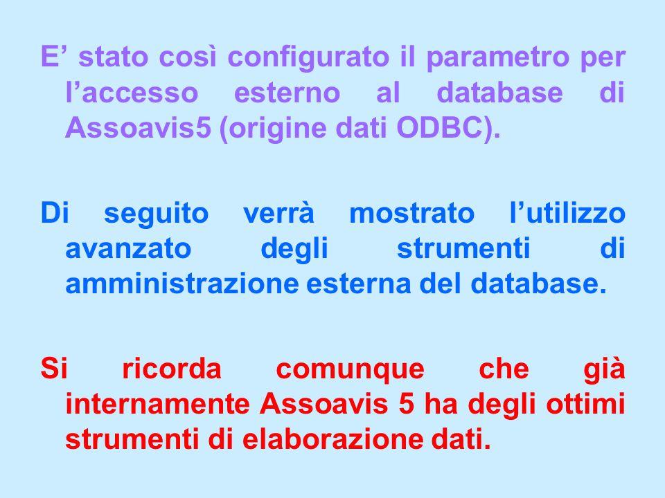 E' stato così configurato il parametro per l'accesso esterno al database di Assoavis5 (origine dati ODBC).