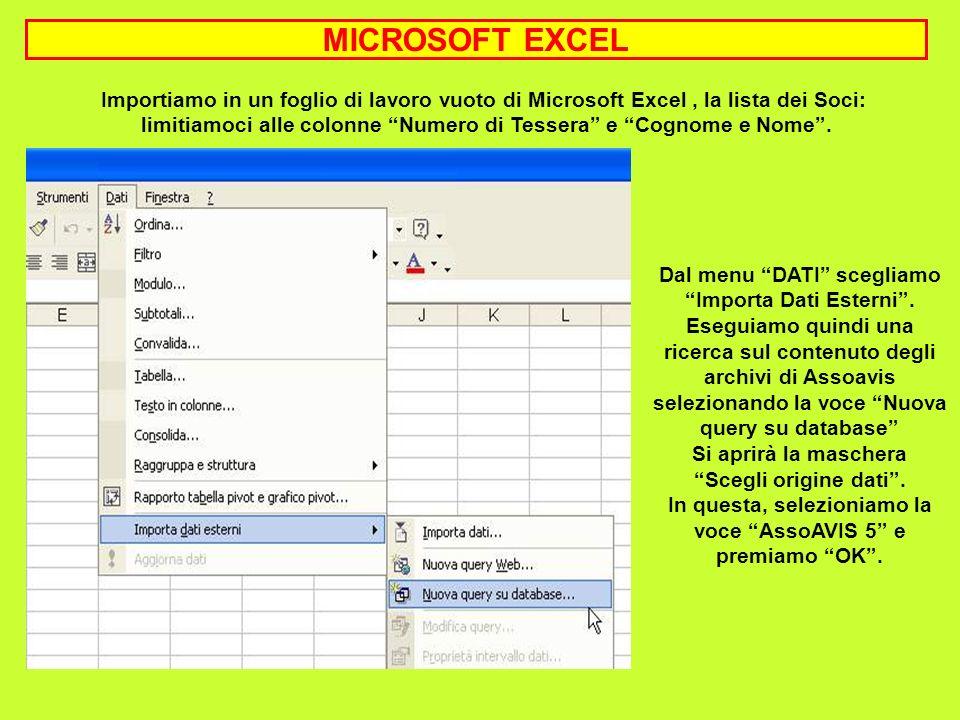 MICROSOFT EXCEL Importiamo in un foglio di lavoro vuoto di Microsoft Excel , la lista dei Soci: