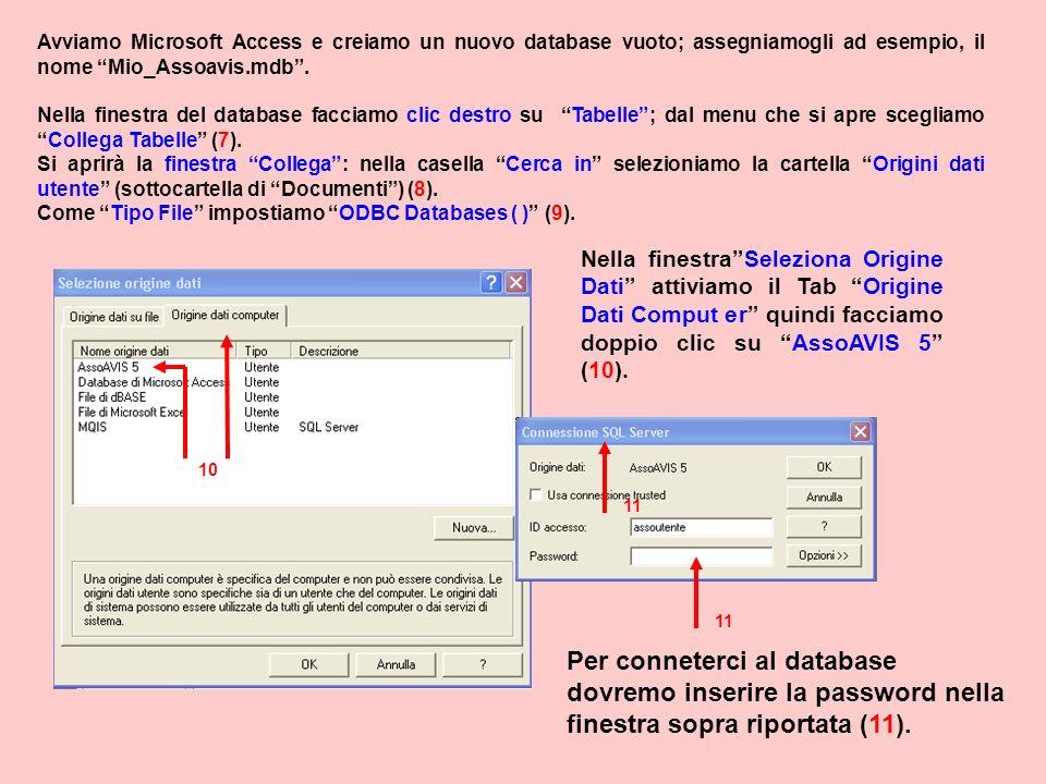 Avviamo Microsoft Access e creiamo un nuovo database vuoto; assegniamogli ad esempio, il nome Mio_Assoavis.mdb .