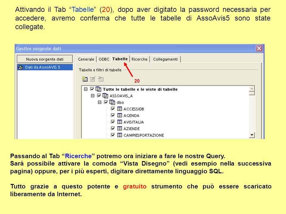 Attivando il Tab Tabelle (20), dopo aver digitato la password necessaria per accedere, avremo conferma che tutte le tabelle di AssoAvis5 sono state collegate.