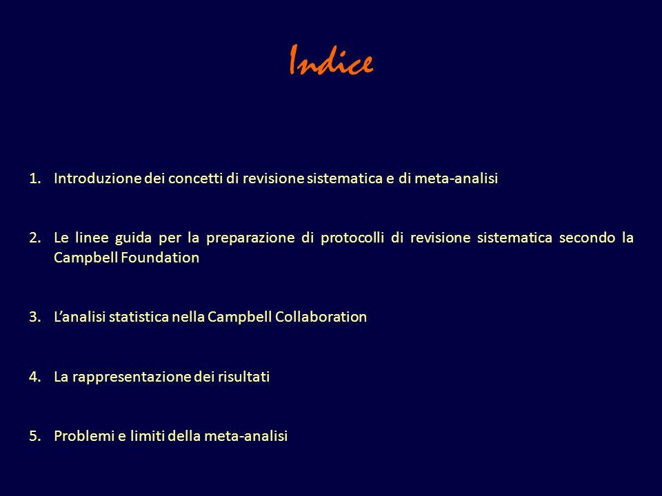 Indice Introduzione dei concetti di revisione sistematica e di meta-analisi.