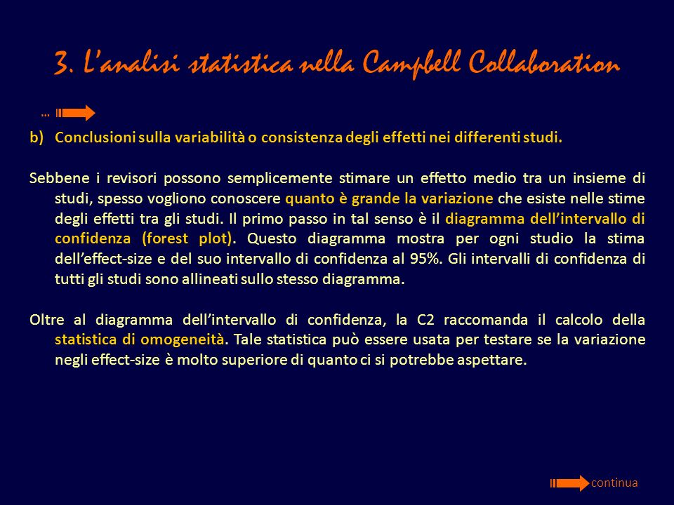 3. L'analisi statistica nella Campbell Collaboration